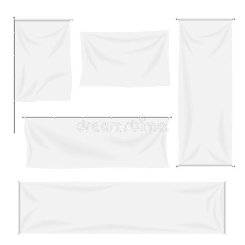 Banderas blancas y banderas de la materia textil con vector de los dobleces stock de ilustración