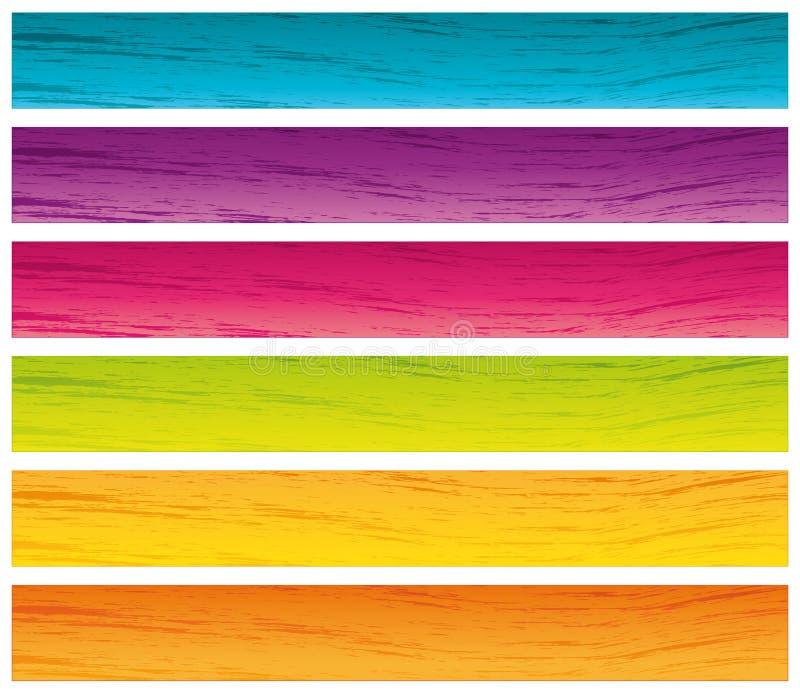 Banderas brillantes del grunge de los colores. ilustración del vector