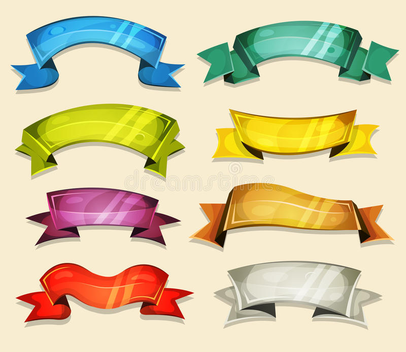 Banderas cómicas y cintas fijadas para el juego de Ui ilustración del vector