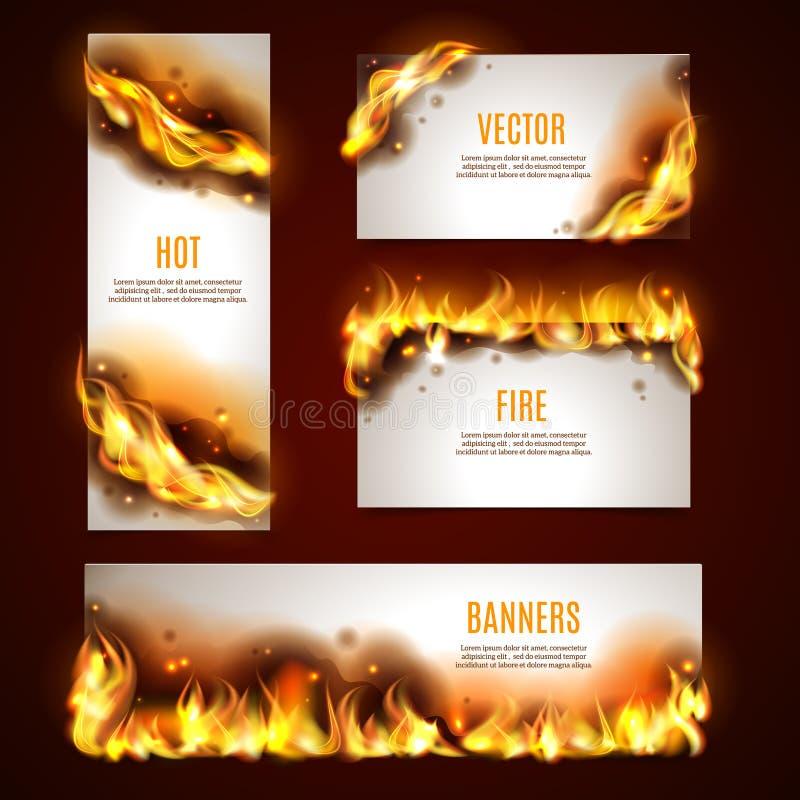 Banderas calientes del fuego fijadas stock de ilustración