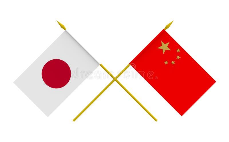 Banderas, China y Japón ilustración del vector