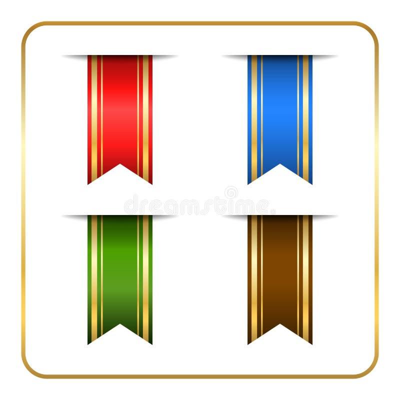 Banderas coloreadas oro de la señal fijadas ilustración del vector