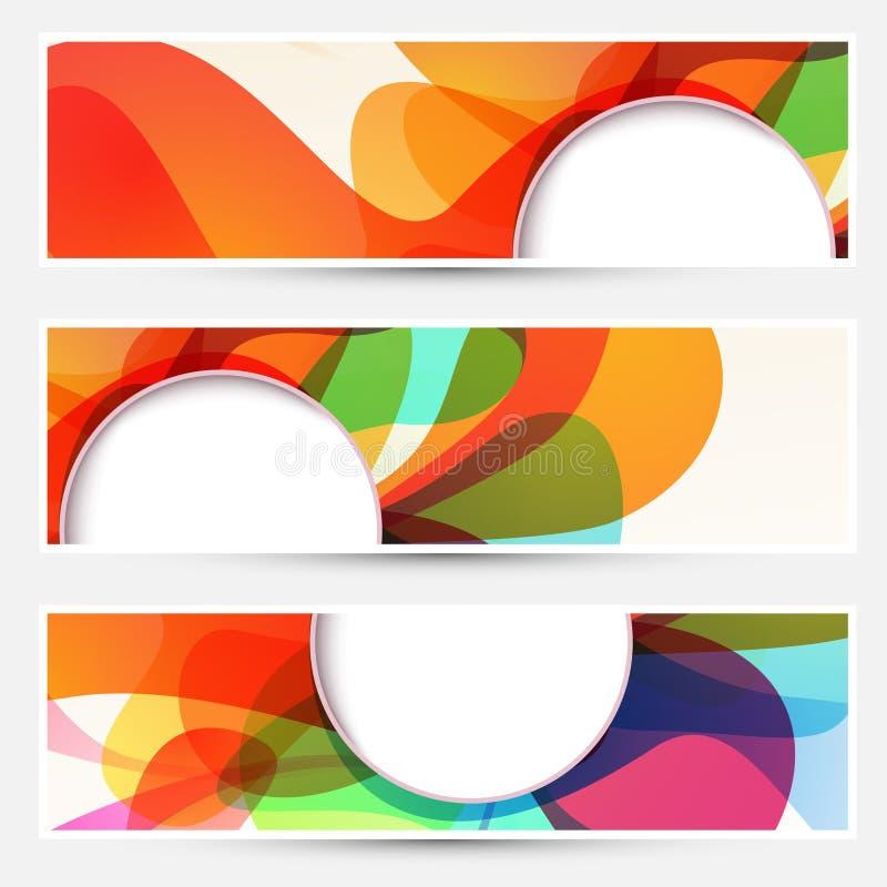 Banderas coloridas del flujo líquido brillante fijadas stock de ilustración