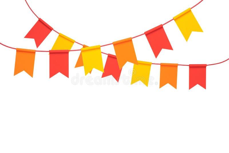 Banderas coloridas del partido del empavesado en el fondo blanco foto de archivo