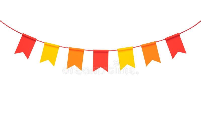 Banderas coloridas del partido del empavesado en el fondo blanco fotografía de archivo