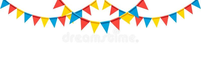 Banderas coloridas del partido del empavesado en el fondo blanco imagenes de archivo
