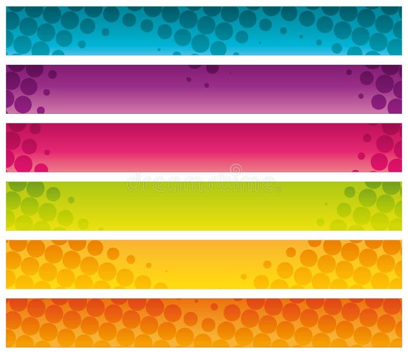 Banderas comerciales de semitono coloridas. stock de ilustración