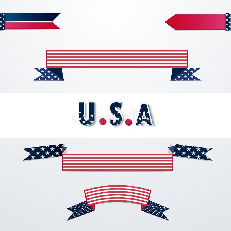 Banderas con colores de la bandera americana libre illustration