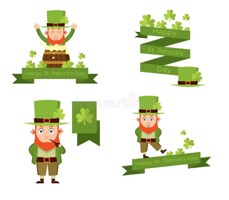 Banderas con el duende para el día del ` s de Patrick stock de ilustración