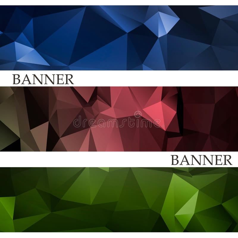 Banderas con el fondo poligonal multicolor abstracto del mosaico stock de ilustración