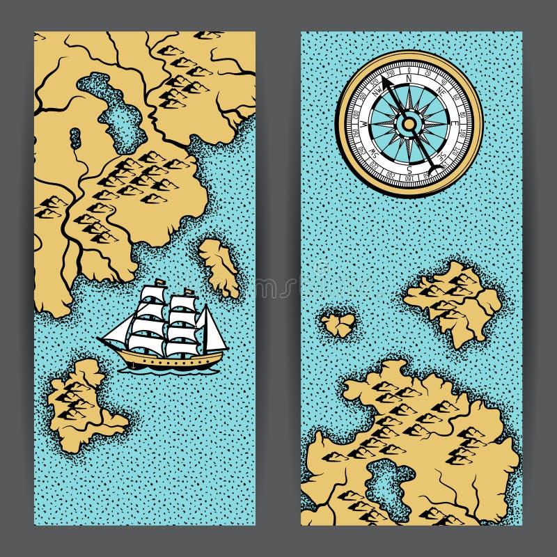 Banderas con el mapa náutico viejo stock de ilustración