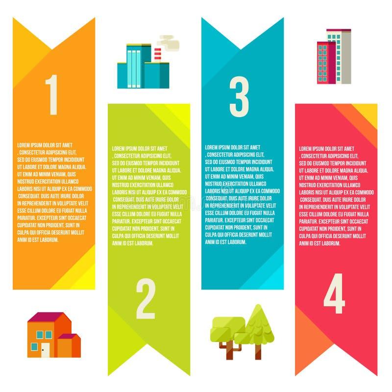 Banderas con la ciudad, ciudad de los gráficos de la información stock de ilustración