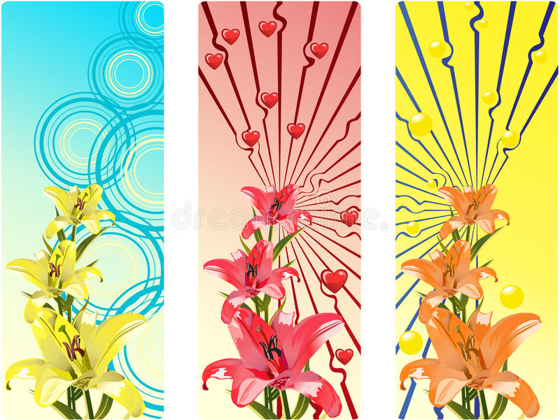 Banderas con las flores brillantes stock de ilustración