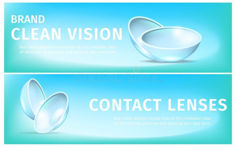 Banderas con las lentes suaves respirables del contacto visual ilustración del vector