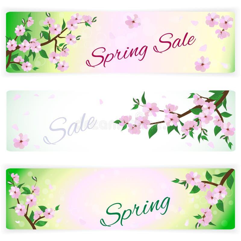 Banderas con las ramas florecientes de la primavera de árboles libre illustration