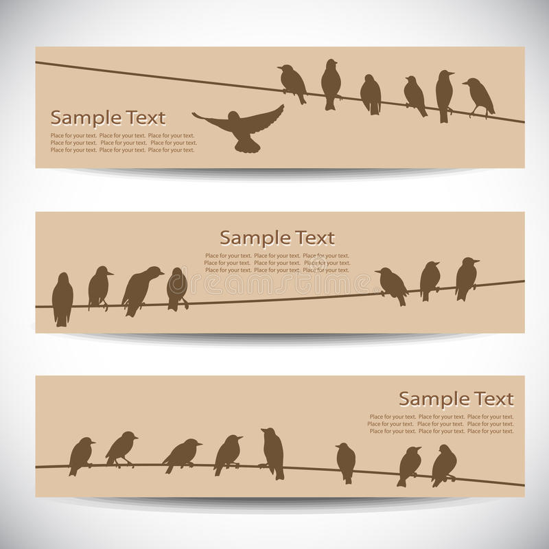 Banderas con los pájaros en los alambres libre illustration