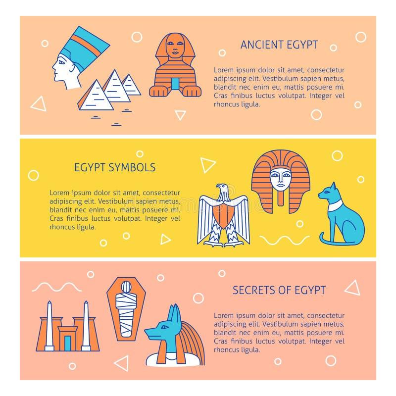 Banderas con los símbolos y el texto históricos populares de Egipto ilustración del vector