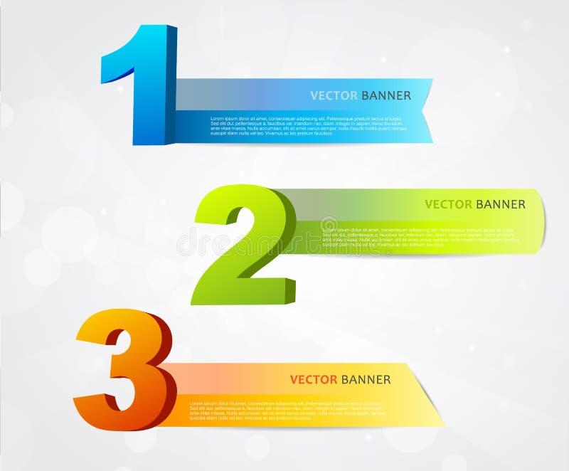 Banderas con números y lugar para propio texto. stock de ilustración