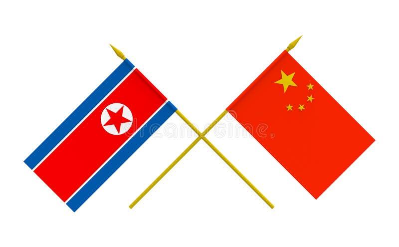 Banderas, Corea del Norte y China stock de ilustración