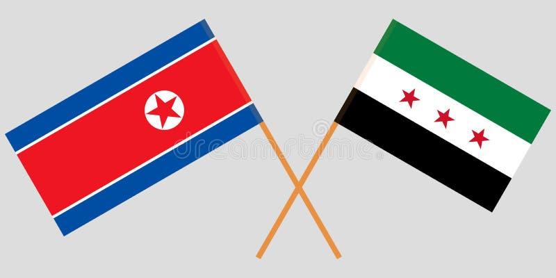 Banderas cruzadas de la coalición nacional siria y de Corea del Norte  Colores oficiales Proporción correcta Vector stock de ilustración