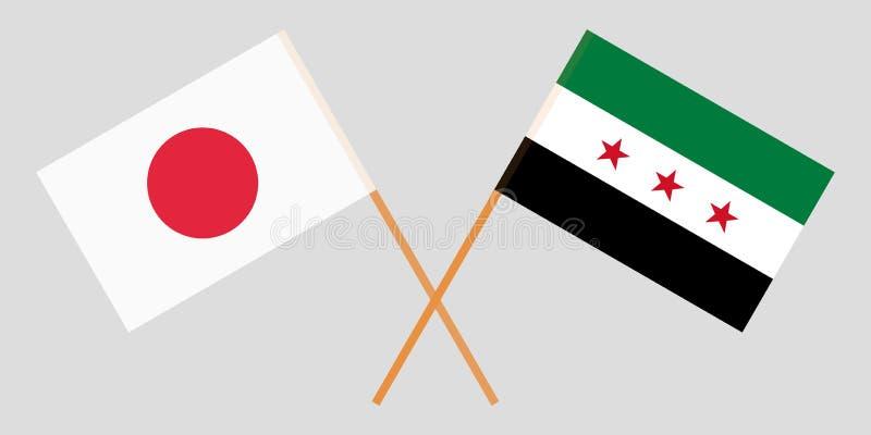 Banderas cruzadas de la coalición nacional siria y de Japón Colores oficiales Proporción correcta Vector ilustración del vector