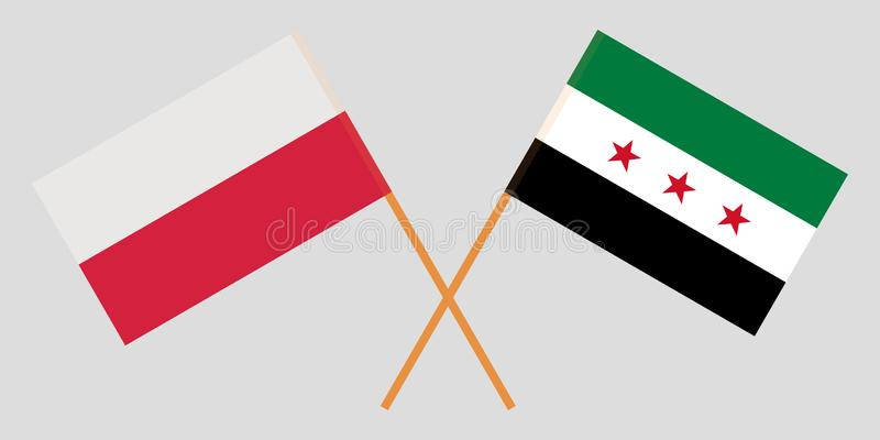Banderas cruzadas de la coalición nacional siria y de Polonia Colores oficiales Proporción correcta Vector libre illustration