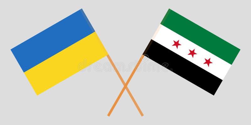 Banderas cruzadas de la coalición nacional siria y de Ucrania Colores oficiales Proporción correcta Vector stock de ilustración