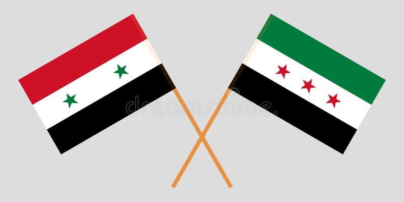 Banderas cruzadas de la república árabe siria y de la coalición nacional siria Colores oficiales Proporción correcta Vector stock de ilustración