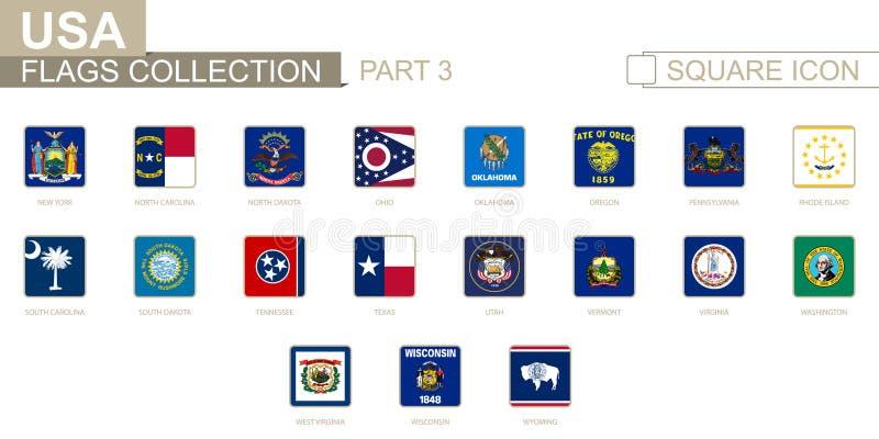 Banderas cuadradas de los estados de los E.E.U.U. Parte 3 de Nueva York a Wyoming libre illustration