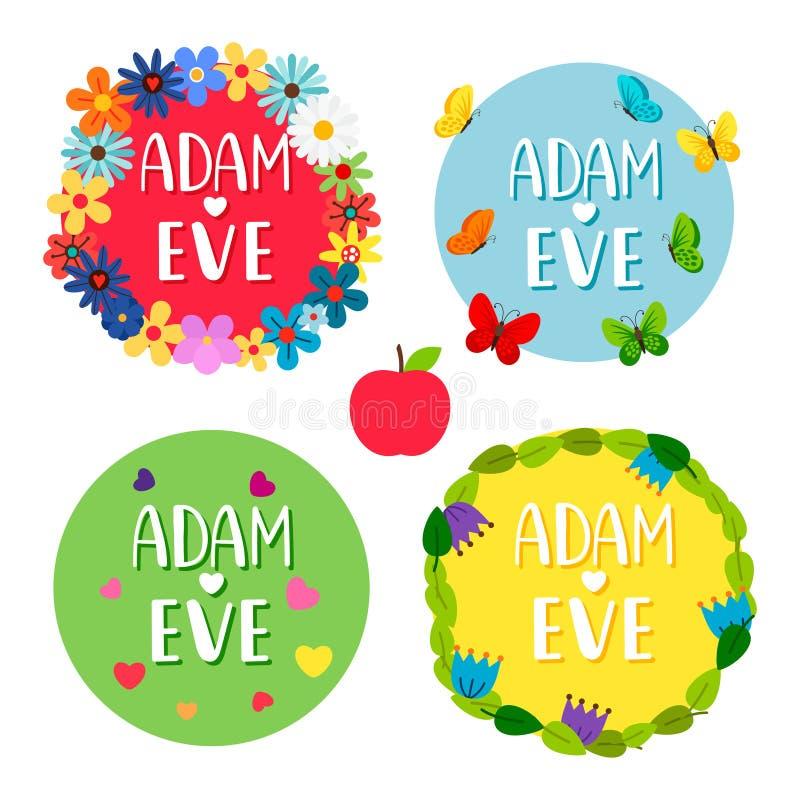 Banderas de Adán y de Eva con las flores, hojas, mariposas, sistema del vector de los corazones libre illustration