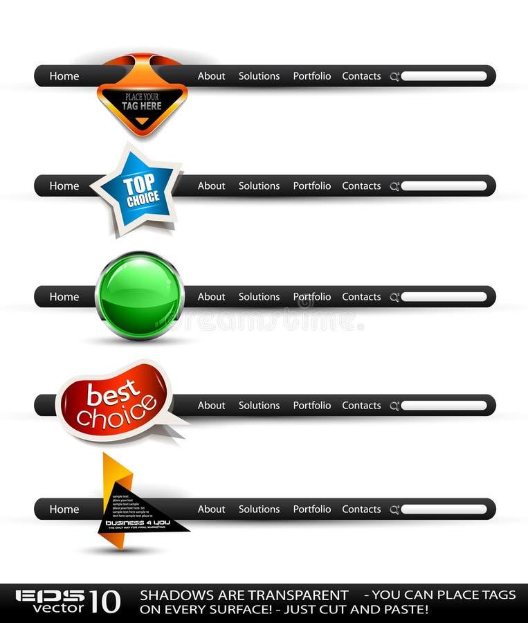 Banderas de alta tecnología modernas de la búsqueda del estilo stock de ilustración