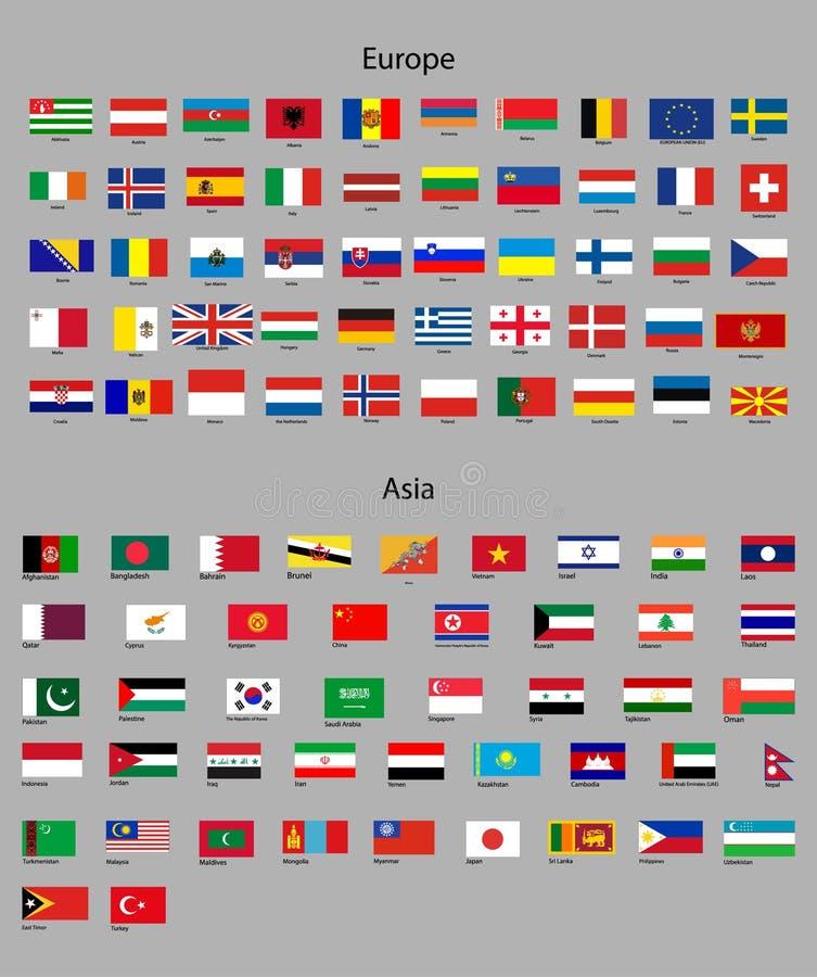 Banderas de Asia y de Europa stock de ilustración
