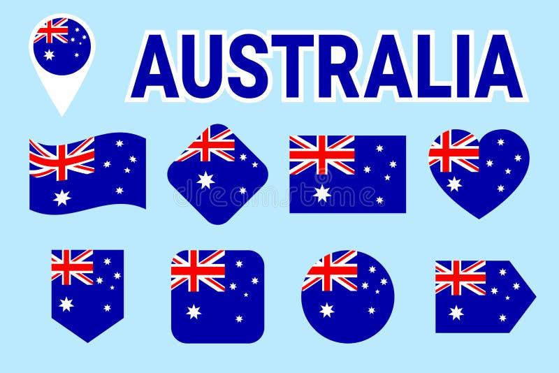 Banderas de Australia fijadas Colección australiana del vector de la bandera nacional Iconos aislados plano con nombre del estado ilustración del vector