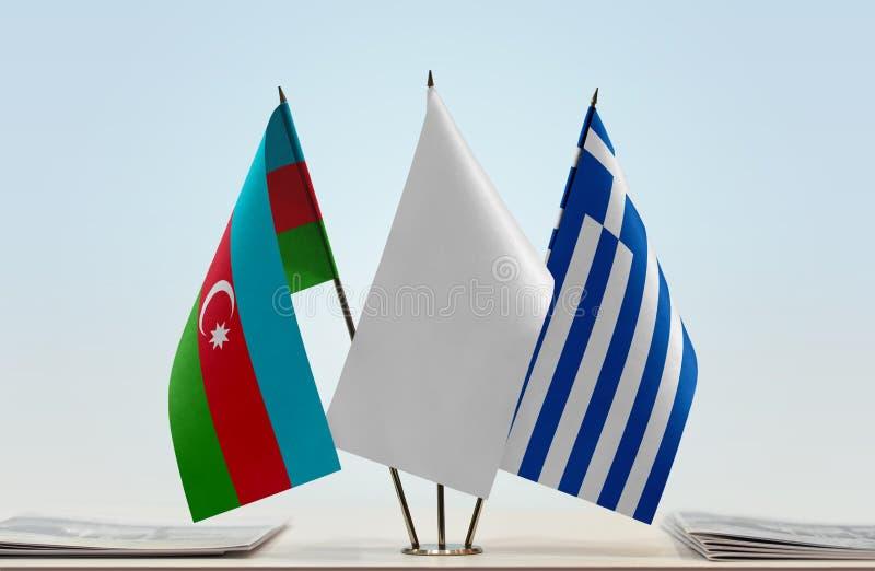 Banderas de Azerbaijan y de Grecia foto de archivo libre de regalías