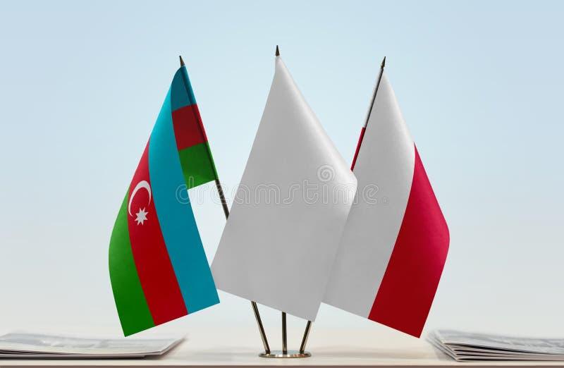 Banderas de Azerbaijan y de Polonia fotos de archivo libres de regalías