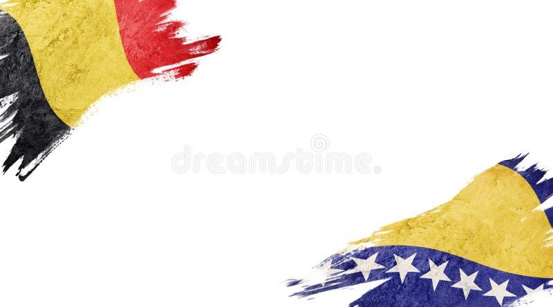 Banderas de Bélgica y Bosnia y Herzegovina sobre fondo blanco foto de archivo libre de regalías