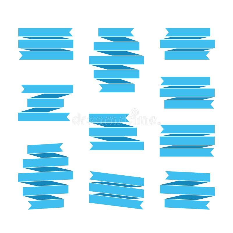 Banderas de Blue Ribbon ilustración del vector