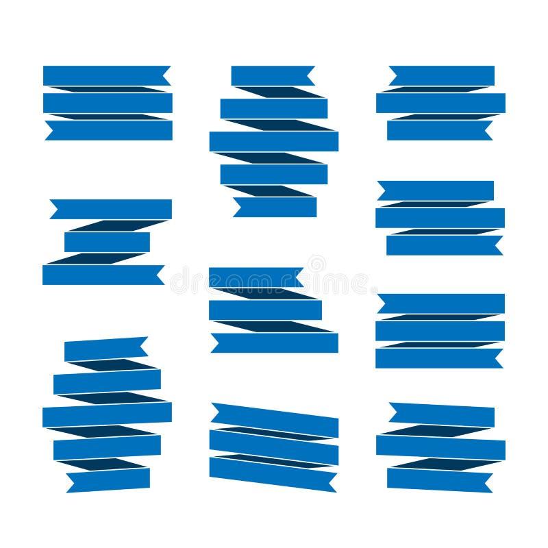 Banderas de Blue Ribbon fijadas ilustración del vector
