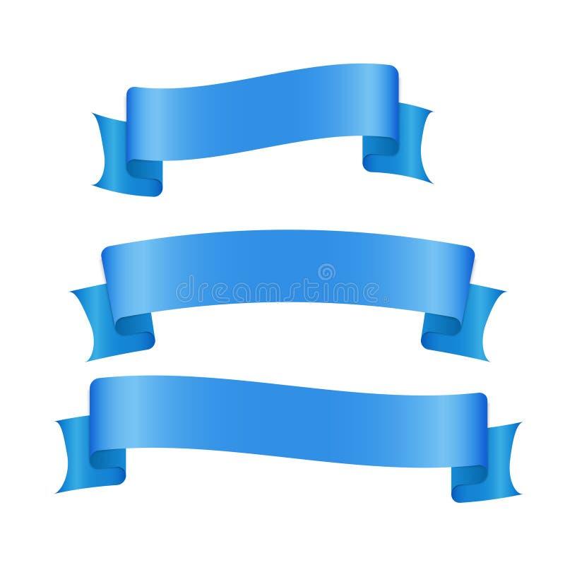 Banderas de Blue Ribbon fijadas Espacio en blanco hermoso para el gráfico de la decoración Viejo diseño del estilo del vintage stock de ilustración