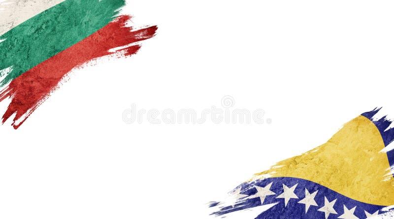 Banderas de Bulgaria y Bosnia y Herzegovina sobre fondo blanco foto de archivo