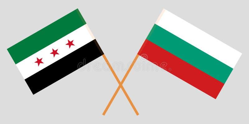 Banderas de Bulgaria y de la coalición nacional siria Vector libre illustration