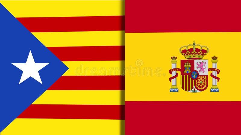 Banderas de Cataluña y de España libre illustration
