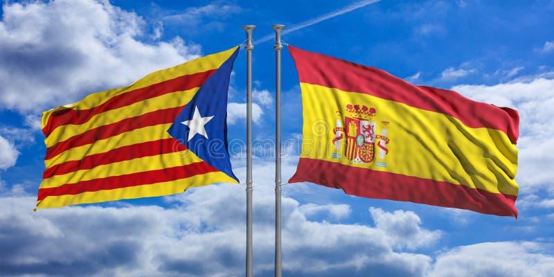 Banderas de Cataluña y de España en fondo del cielo azul ilustración 3D stock de ilustración