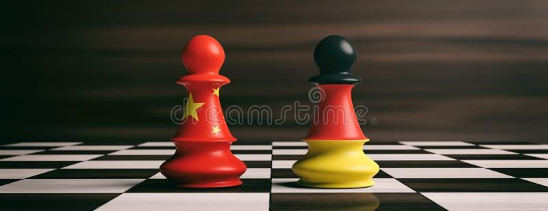 Banderas de China y de Alemania en empeños del ajedrez en un tablero de ajedrez ilustración 3D ilustración del vector