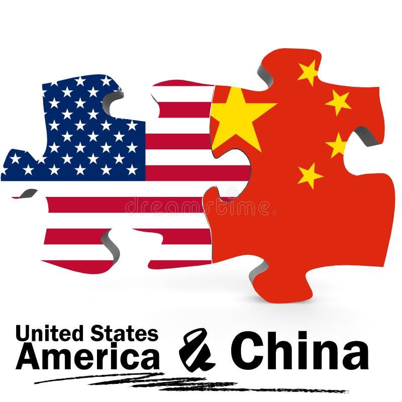 Banderas de China y de Estados Unidos en rompecabezas libre illustration