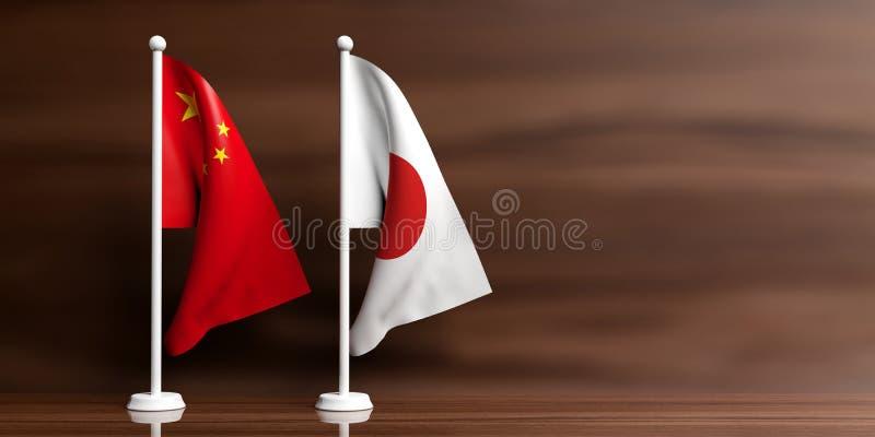 Banderas de China y de Japón en fondo de madera ilustración 3D libre illustration