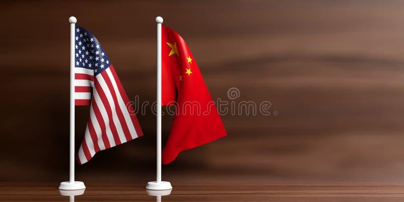 Banderas de China y de los E.E.U.U. en fondo de madera ilustración 3D stock de ilustración