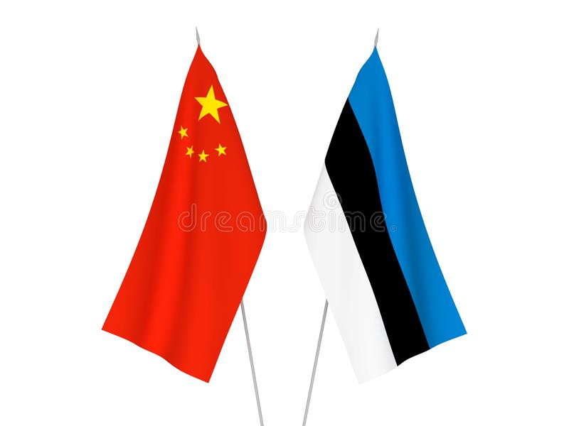 Banderas de China y de Estonia stock de ilustración