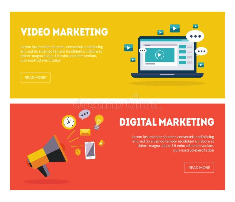 Banderas de comercialización sistema, estrategia empresarial, Analytics, ejemplo en línea de Digitaces del vector de las plantill libre illustration