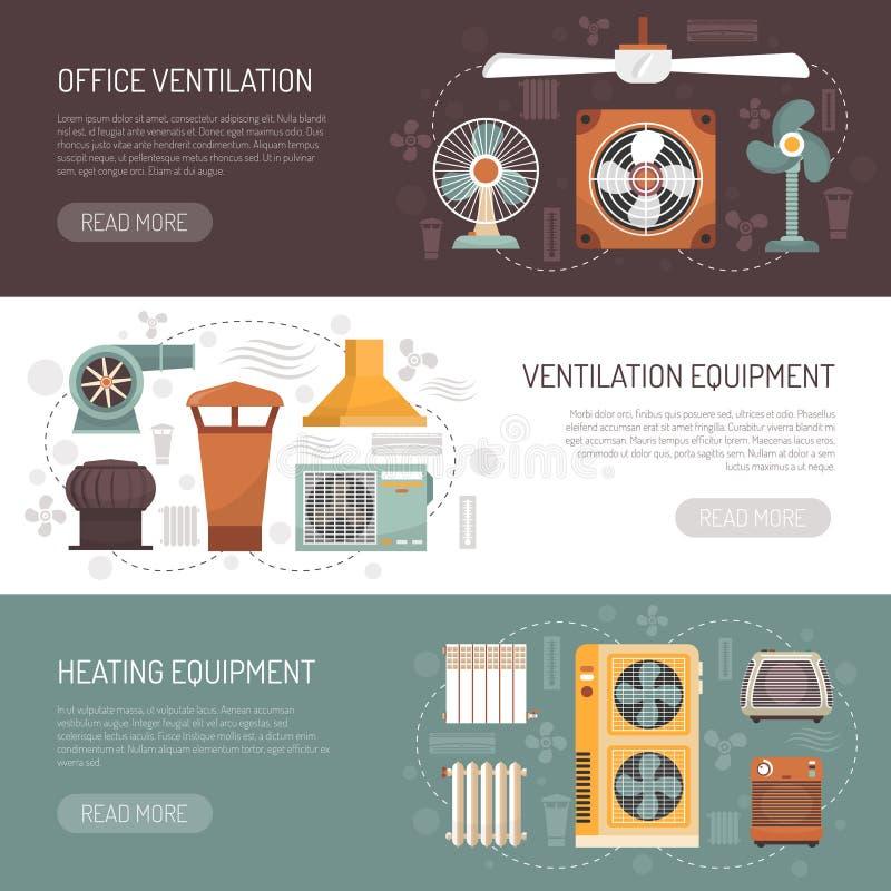 Banderas de condicionamiento y de calefacción de la ventilación stock de ilustración